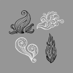 Illustration with four abstract nature elements. Fire, air, smoke. Isolated drawn signs.