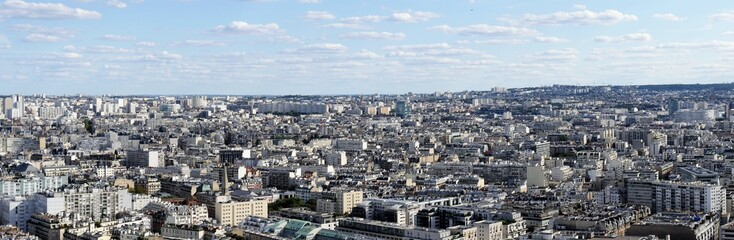 Panorama picture overview of the sea of ​​houses of Paris, urban life in a narrow space, view to the east.