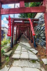 Japan, Koya-san, path and wall