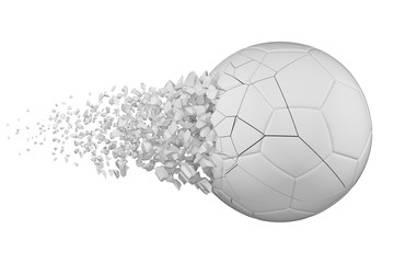 Shattering soccer ball 3D realistic raster illustration. Football ball with explosion effect. Broken isolated design element. Wall mural