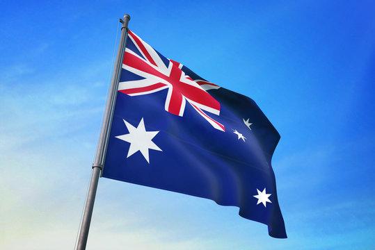 Australia flag waving on the blue sky 3D illustration
