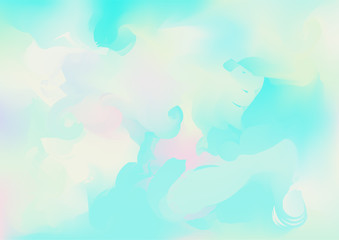 Hologram Magic Dreamy Vector Background. Rainbow Girlie Iridescent Gradient, Holographic Fluid Poster Wallpaper. Bright Pearlescent Hologram Fairy Cool Web Banner. Modern Tech Music Sound.
