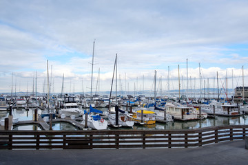 Yacht parked at Pier 39 San Francisco, California US