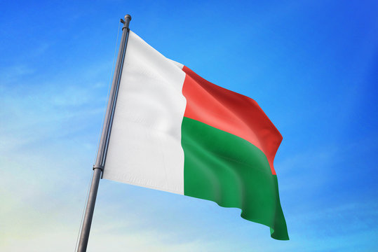 Madagascar flag waving on the blue sky 3D illustration