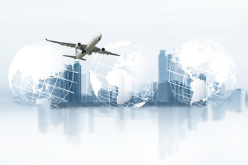 world logistics, there are world map background and big white airplane is flying for Business trip with Commercial plane, Transportation, import-export and logistics, Travel concept