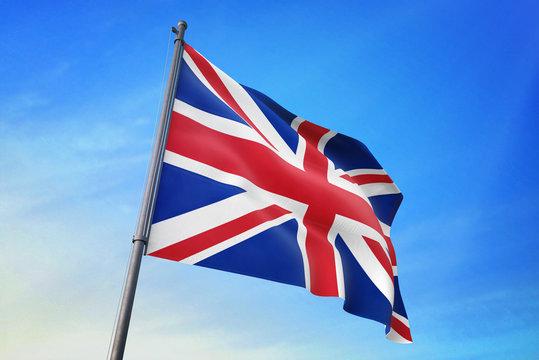United Kingdom flag waving on the blue sky 3D illustration