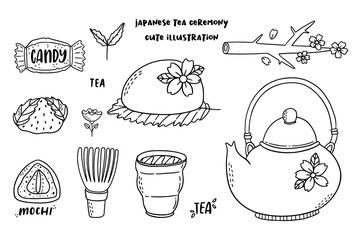 Pack of illustrated objects of traditional japanese tea drinkinc ceremony.