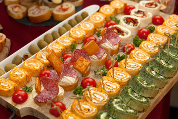 Catering food, colorful mini canapes