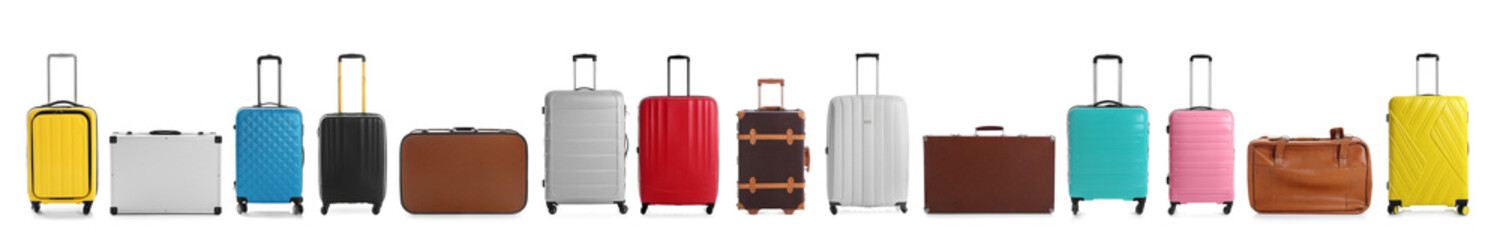 Set of different suitcases for travelling on white background