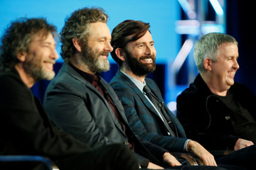 "Executive producer and show runner Neil Gaiman, cast member Michael Sheen, cast member David Tennant, and executive producer and director Douglas Mackinnon speak on a panel for the Amazon Series ""Good Omens"", in Pasadena"
