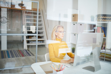 Portrait of mature businesswoman using computer sitting at desk in office behind glass wall, copy space