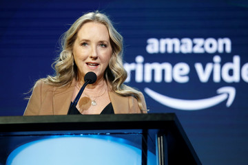 "Head of Amazon Studios Jennifer Salke introduces the ""Visionary Voices"" panel during the Television Critics Association (TCA) Winter Press Tour in Pasadena, California"