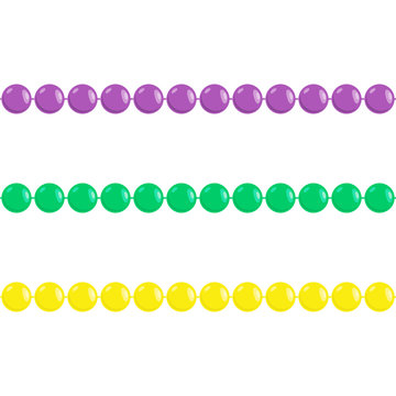 Seamless Mardi gras beads isolated on white background. Set for greeting card. Vector illustration