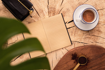 Wall Mural - Flat lay, top view office table desk. Workspace with blank clip board, keyboard, office supplies, pencil, green leaf, and coffee cup on white background