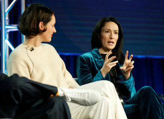 """Cast member Sian Clifford and creator and executive producer Phoebe Waller-Bridge participate in a panel for the show """"Fleabag"""" during the Amazon Prime Video portion of the Television Critics Association (TCA) Winter Press Tour in Pasadena"""
