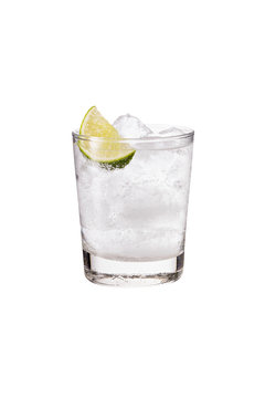 Refreshing Gin and Tonic on White
