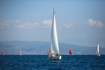 Wall Mural - Sailing luxury yacht boats in Aegean Sea - Greece.