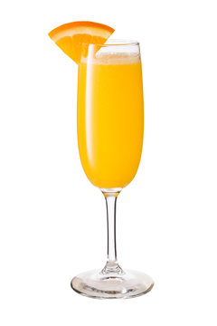 Vodka Orange Juice Mimosa Cocktail on White