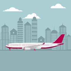 drawn passenger plane, background is city architecture.