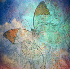 Fotorollo Schmetterlinge im Grunge grunge butterfly background texturewith hand