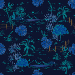 Hand drawing sketch line scenery or lanscape  in seamless pattern vector design for fashion fabric ,wallpaper and all prints