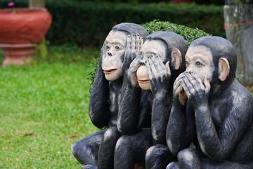 three black monkeys statue, closes eye, mouth, ear.