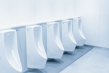 Close up row of urinal toilet blocks in public restroom clean blue color tone.