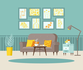 Cozy living room with sofa, bedside table with books, posters on the wall and striped wallpaper, lamp. Blue, grey and yellow. Vector illustration