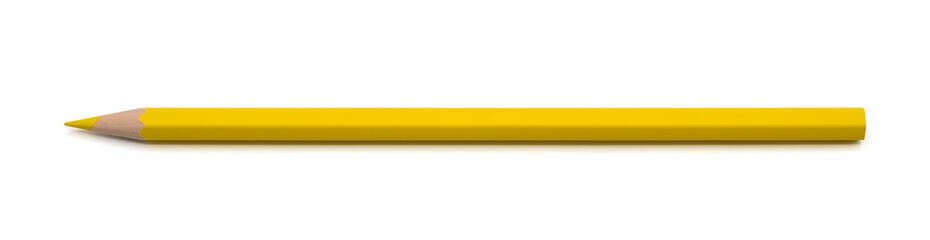 Yellow pencil color isolated on white background with clipping path.