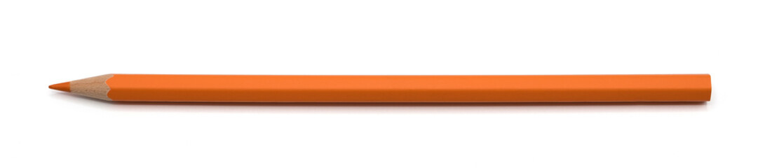 Orange pencil color isolated on white background with clipping path.