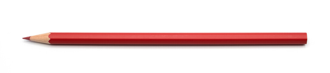 red pencil isolated on white background clipping path.