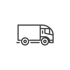Delivery truck line icon. linear style sign for mobile concept and web design. Truck, transportation outline vector icon. Lorry symbol, logo illustration. Pixel perfect vector graphics