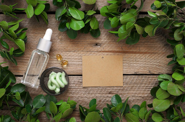 Natural organic cosmetics and greenery