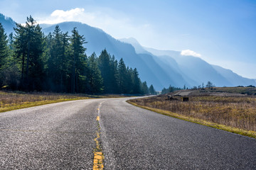 Landscape Curving Road to Columbia River Gorge with Firs and Mountains