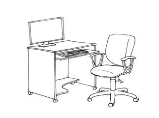 Graphic sketch desktop, computer desk, liner.