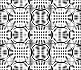 3d illustration. seamless black and white spherize shape pattern wall background.