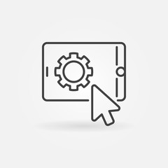 Click on tablet with gear vector concept icon or symbol in thin line style