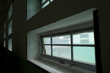 A barred window is seen inside a cell at Pik Uk Prison, in Hong Kong