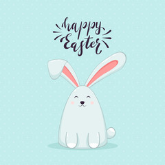 Happy Easter Rabbit on Blue Background