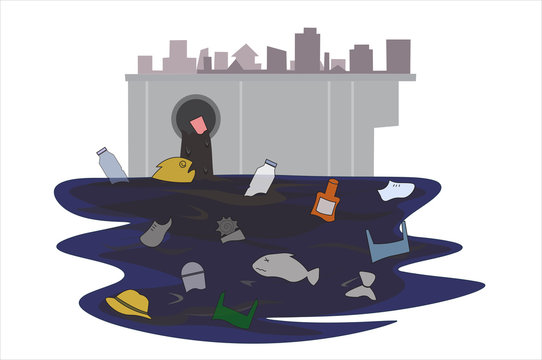 Garbage that flows through the sewer that came from the city, it made the fish unable to live Until it is water pollution. Concept flat style vector illustration environmental impact. -EPS10