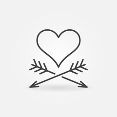 Heart and Two Arrows vector concept icon or symbol in thin line style