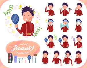 flat type school boy red jersey_beauty