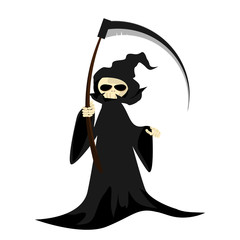 Halloween character with grim reaper with scythe.