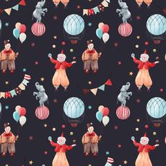 Fototapete - Watercolor circus pattern
