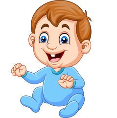 Cartoon baby boy wearing blue pajama