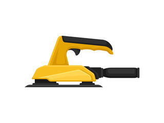 Electric polishing machine or sandpaper. Equipment for carpentry works. Professional power tool. Flat vector icon