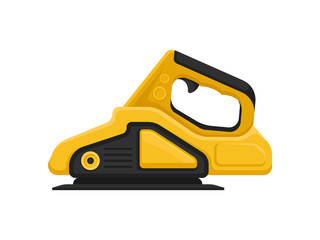Yellow-black sanding machine. Electric sandpaper. Power tool for carpentry works. Building equipment. Flat vector icon