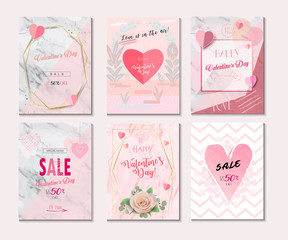 Valentines Day , Womens & Mothers Day, Set of Sale Banner, Flyer, Poster, Voucher, Greeting Card. Love concept modern abstract design, vector template. Pink, Heart shapes, balloon, floral decoration.