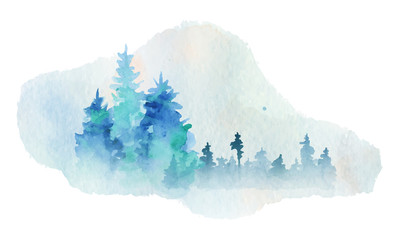 Watercolor abstract silhouette of a forest with pine trees