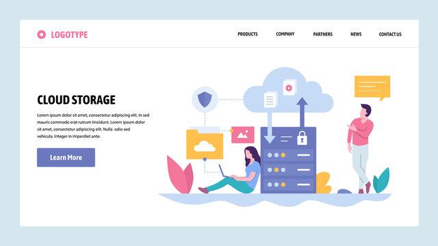 Vector web site gradient design template. Cloud storage server technology. Secure data upload and download. Landing page concepts for website and mobile development. Modern flat illustration.